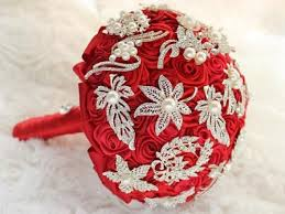 made to order high end luxury red ribbon roses vintage pearl