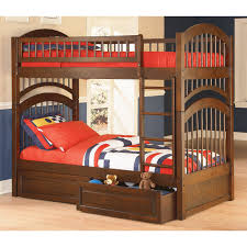 charming espresso wooden bunk bed with double storage design
