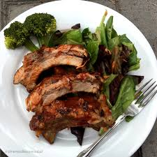 succulent fall off the bone bbq pork ribs pine needles in my salad