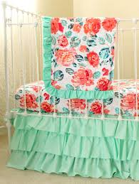 Floral Crib Bedding Sets Pixie Park Coral Mint And Navy Baby Bedding Custom Baby