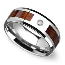 diamond wood rings images Beveled diamond men 39 s wedding ring with koa wood inlay in tungsten jpg