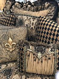 luxury decorative accent pillows in bronze gold black paisley