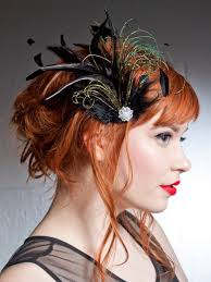 epoch black and green feather hair clip accessories