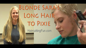 preview clip for blonde sara u0027s long hair to pixie haircut youtube
