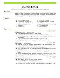 server resume exle exle of resume fast food server resume sle