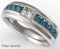 blue diamond wedding rings mens wedding bandblue diamonds wedding ring for a menunique