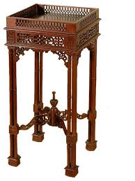 solid mahogany table with pierced carved square fern plant stand