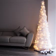 luxury white 6 foot feather christmas tree with warm white leds