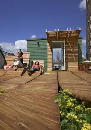 rooftop deck design roll up rooftop daring rounded wood deck design in nyc