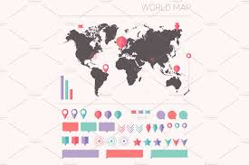 Usa World Map by World Map Flat Vector Illustrations Creative Market