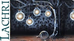 surreal light bulbs on a tree acrylic painting with airbrushing by