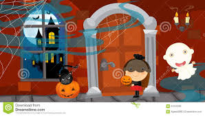 halloween scene clipart cartoon halloween scene stock illustration image 61240093