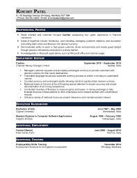 resume patel kinchit cashier and currency exchange