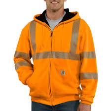 carhartt 100504 high visibility thermal lined zip front hoodie