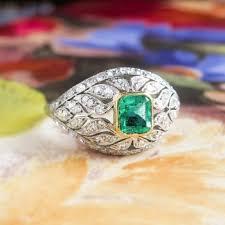 vintage emerald engagement rings deco emerald diamond ring platinum 18k yellow gold antique