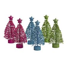 bright mini glitter trees set of 6 tree shops andthat