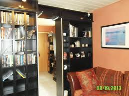 Cube Room Divider - black wooden bookcase room divider with cube rack connected by