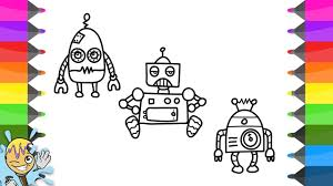 how to draw robot coloring pages characters learning drawing