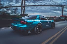 stancenation rx7 sports car mazda rx 7 mazda blue cars bridge rocket