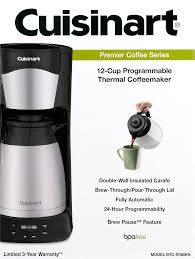 Coffee Maker With Grinder And Thermal Carafe Cuisinart 12 Cup Programmable Thermal Coffeemaker Black Stainless