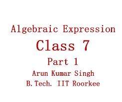 hindi algebraic expression concept part 1 class 7 cbse and icse