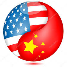 american and chinese flag in the globe vector u2014 stock vector