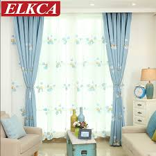 Rainbow Curtains Childrens Aliexpress Com Buy Blue Rainbow Embroidered Curtains For