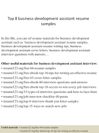 Trade Assistant Resume Top8businessdevelopmentassistantresumesamples 150403192822 Conversion Gate01 Thumbnail 4 Jpg Cb U003d1428107345