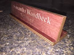engraved desk name plate woodwork by woodbeck