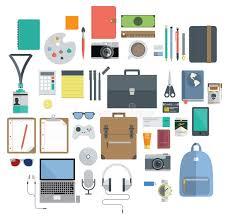 equipement bureau de l équipement de bureau instrument de voyage et icône de passe