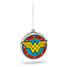 hallmark dc shield blown glass ornament thinkgeek