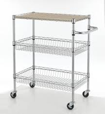 Wire Shelf Cart Chrome 3 Tier Wire Rolling Kitchen Cart Utility Food Service