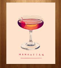manhattan drink manhattan cocktail art print manhattan cocktail manhattan and