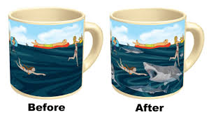 funny coffee mugs and mugs with quotes color changing shark sea
