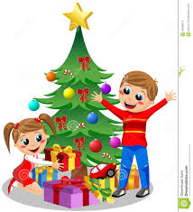 cute kids opening christmas gifts stock photography image 34398472