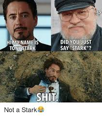 Hi My Name Is Meme - did you just hi my name is tony stark say stark shit not a stark