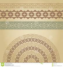 set of borders and half with nordic ethnic ornaments stock
