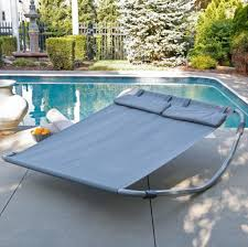 home decoration modern gray hammock bed with metal stand for pool