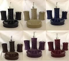 4pc ceramic bath accessory set beige burgundy black purple brown