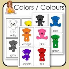 11 basic colors colours are featured in these flash 3 part cards