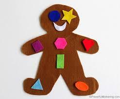 gingerbread man shape matching busy bag