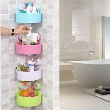 Corner Shelves Bathroom Wall Mounted Bathroom Corner Shelf Sucker Suction Cup Plastic
