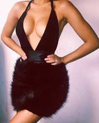 dress black dress fashion black fur skirt fluffy black