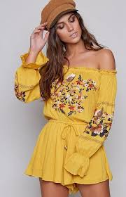 playsuits low price rising sun shoulder playsuit mustard