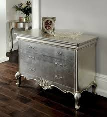 cristal french silver 3 drawer wide chest crown french furniture
