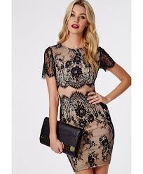 missguided coldie lace short sleeved mesh insert mini dress black