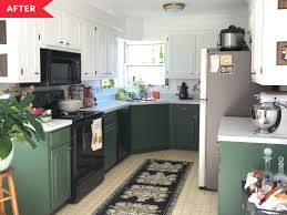 green base cabinets in kitchen best painted cabinet redos of 2020 best painted cabinet