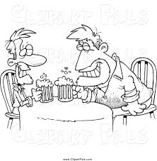 cartoon alcohol pal clipart of cartoon black and white men having a drink together
