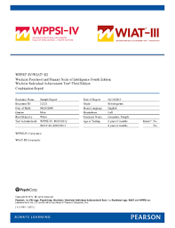 wppsi iv sle report fill printable fillable blank