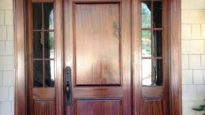 Sapele Exterior Doors Solid Wood Front Entry Door With Planked Panels Mahogany Walnut